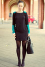 Teal-asos-dress-charcoal-gray-h-m-tights-dark-gray-zara-bag