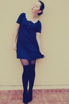 navy BLANCO dress - dark gray H&M tights - black H&M stockings