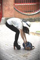 black Jeffrey Campbell heels - ivory straw Bershka hat - blue Zara bag