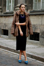 Blue-zara-necklace-navy-vintage-dress-light-brown-faux-fur-zara-coat