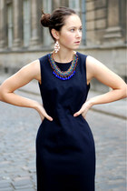 blue Zara necklace - navy vintage dress - light brown faux fur Zara coat