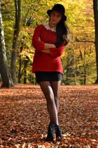 red knitted Zara sweater - black Zara shoes - black H&M hat