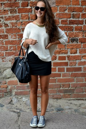 ivory H&amp;M sweater - dark gray Mango bag - black H&amp;M sunglasses
