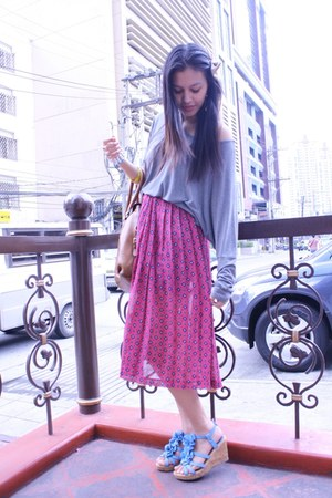 Prada bag - blue sm dept store wedges - Dorothy Perkins top - American Apparel a