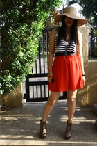 burnt orange Janylin boots - ruby red Forever 21 dress - camel from ashleydy hat