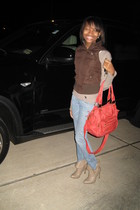 brown vest - beige sweater - blue jeans - orange purse - beige shoes
