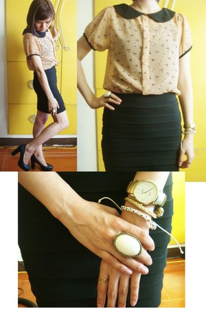 peach chiffon Bazaar blouse - black department store skirt