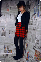 black banana republic cardigan - white joyce leslie shirt - red vintage skirt -