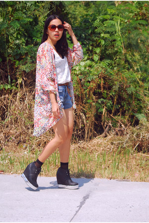 black wedge Five By Five boots - distressed random brand shorts - sheer SM socks