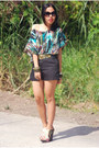 Black-shorts-cintura-belt-printed-forever-21-top-aldo-wedges