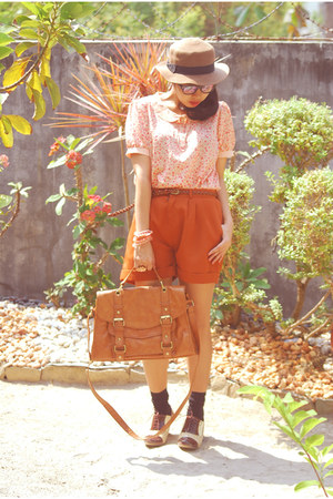satchel Topshop bag - oxford Aldo shoes - SM hat - geeky Nava sunglasses