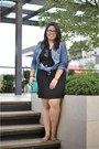 Blue-denim-jacket-aquamarine-ichigo-bag-black-cotton-on-skirt