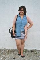 black sammydress bag - salmon cardigan - white striped skirt