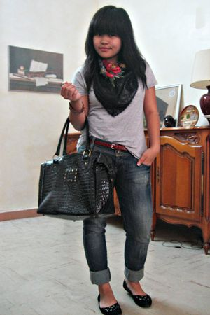 black Mims shoes - blue Zara pants - black La Fayette purse - red Claires belt -