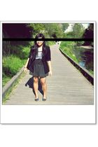 black Diapositive blazer - blue Paris Mode shoes - gray skirt