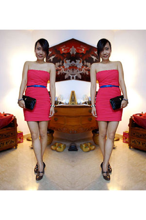 pink Dotti dress - brown Charles & Keith shoes - black vintage bag