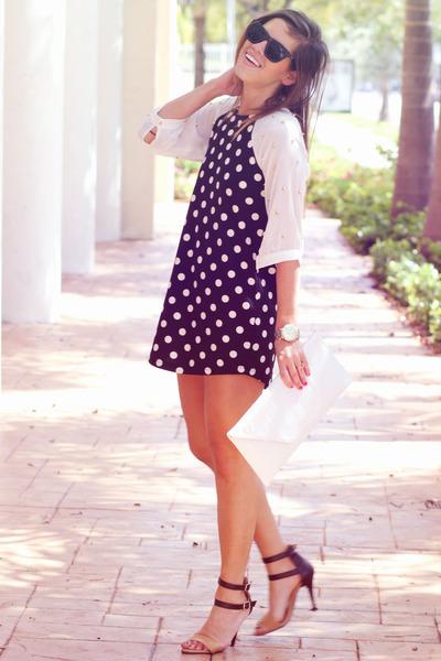 black polyester studs Dress dress - ivory faux leather clutch bag