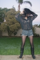 roca boots - vintage shirt - shorts - thrifted intimate - Target Australia stock