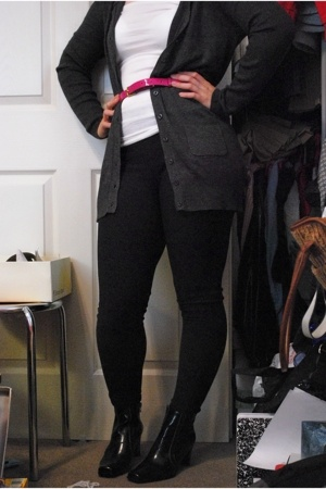 BCBG sweater - JCrew belt - Under Armour leggings - etienne aigner boots