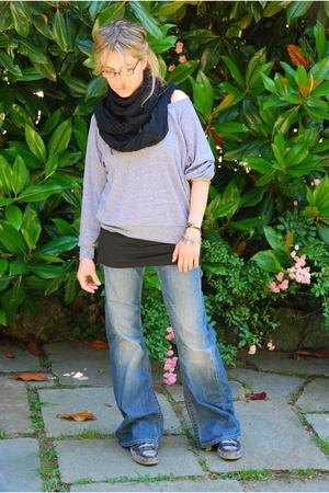 American Apparel top - faliero sarti scarf - REPLAY jeans - Muji top - Converse