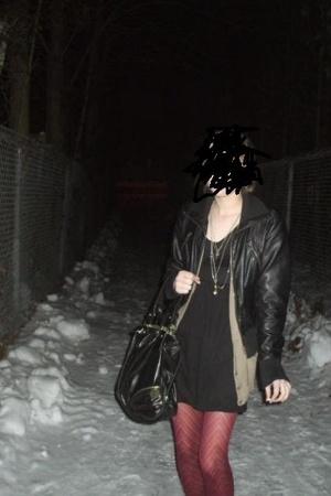 jacket - sweater - dress - purse - tights