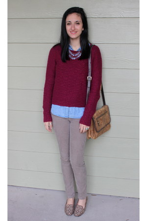 brick red wool BDG sweater - light blue denim Forever 21 shirt
