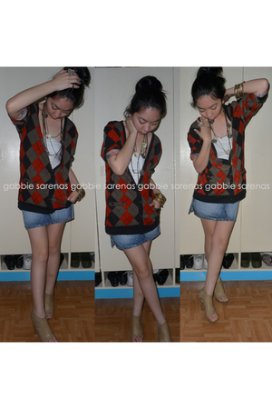 red maldita cardigan - white tiangge top - blue Mango skirt - beige CMG shoes