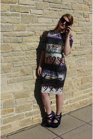 heather gray asos dress - brown zeroUV sunglasses