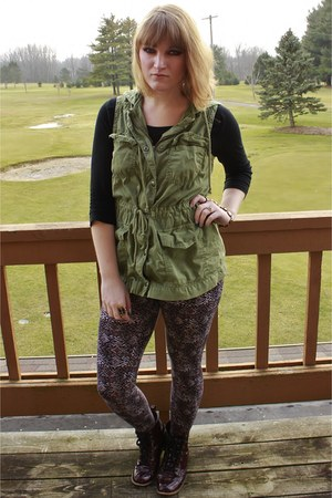 olive green Mudd vest - maroon burgundy Shoedazzle boots