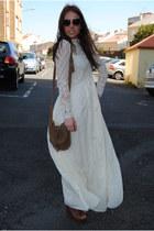ivory Zara dress - brown Zara bag - dark brown Zara wedges