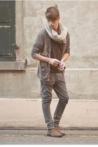 asos shoes - Cheap Monday jeans - lisa scarf - American Apparel cardigan