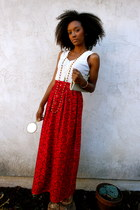 red high-waisted Custom Vintage Skirt skirt - baguette vintage purse bag