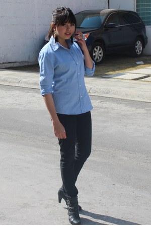 black Levis jeans - black LOB boots - sky blue vintage blouse