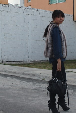 fabric scrap boots - JCrew jeans - sdgf bag - Comme des Garcons blouse