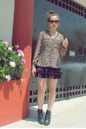 c&a skirt - LOB boots - Zara blouse