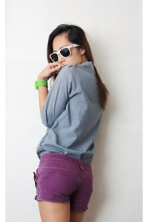 purple random brand shorts - sky blue faux denim top - chartreuse Bazaar watch