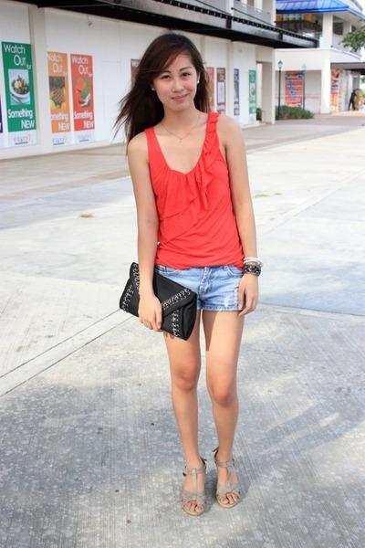 Black Sm Dept Store Bags, Light Blue Denim Shorts, Coral Tops ...
