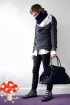 vintage scarf - emporio armani shirt - Reiss sweater - lanvin glasses - Prada ac