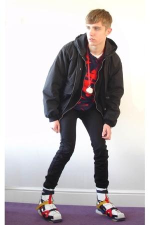Miu Miu jacket - Prada sweater - Raf Simons t-shirt - Topman jeans - Raf Simons