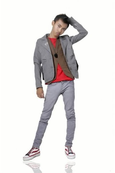 Zara tor Men t-shirt - Bronze blazer - vest