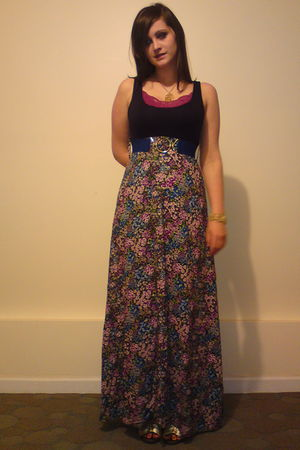 blue vintage belt - blue dress - gold Forever 21 shoes