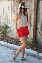 Forever 21 shorts - Zara top - Nordstrom flats - handmade necklace - YSL glasses