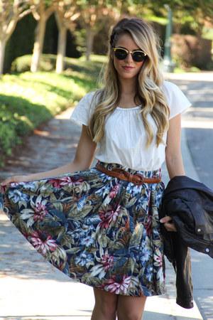 vintage skirt - Zara jacket - REPLAY glasses - vintage belt