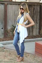 banana republic heels - J Brand jeans - BCBG top - Forever 21 vest