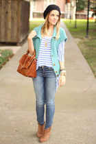 free people vest - asos boots - J Brand jeans - tory burch bag