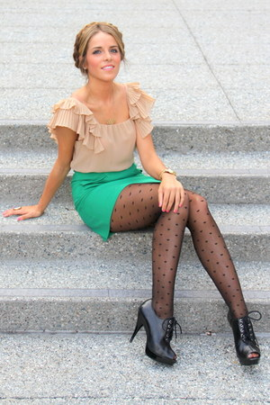 American Apparel tights - vince blazer - Zara top - Zara skirt