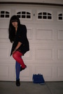Blue-blazer-black-dress-red-tights-blue-tights-black-shoes-blue-access