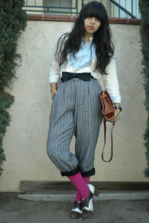 beige Ralph Lauren shirt - black bow accessories - gray pants - pink tights - br