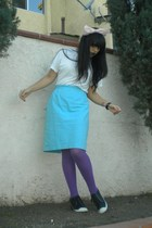 white t-shirt - blue Nina Ricci skirt - purple DKNY tights - black Madden Girl s