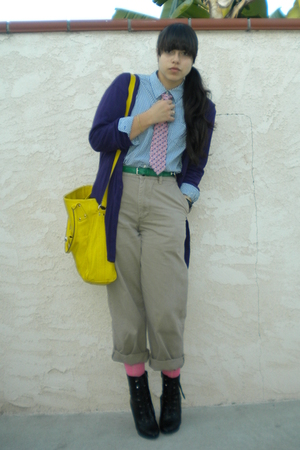 purple Crafty Couture cardigan - blue shirt - beige brothers pants - black Fioni